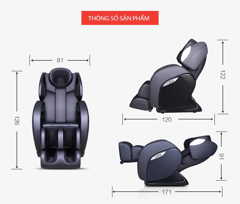 Kích thước ghế massage F-1 các chiều.