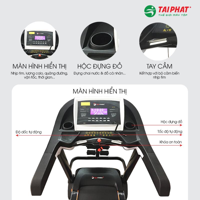Máy chạy bộ Tech Fitness TF-19AS với màn hình hiển thị thông minh.