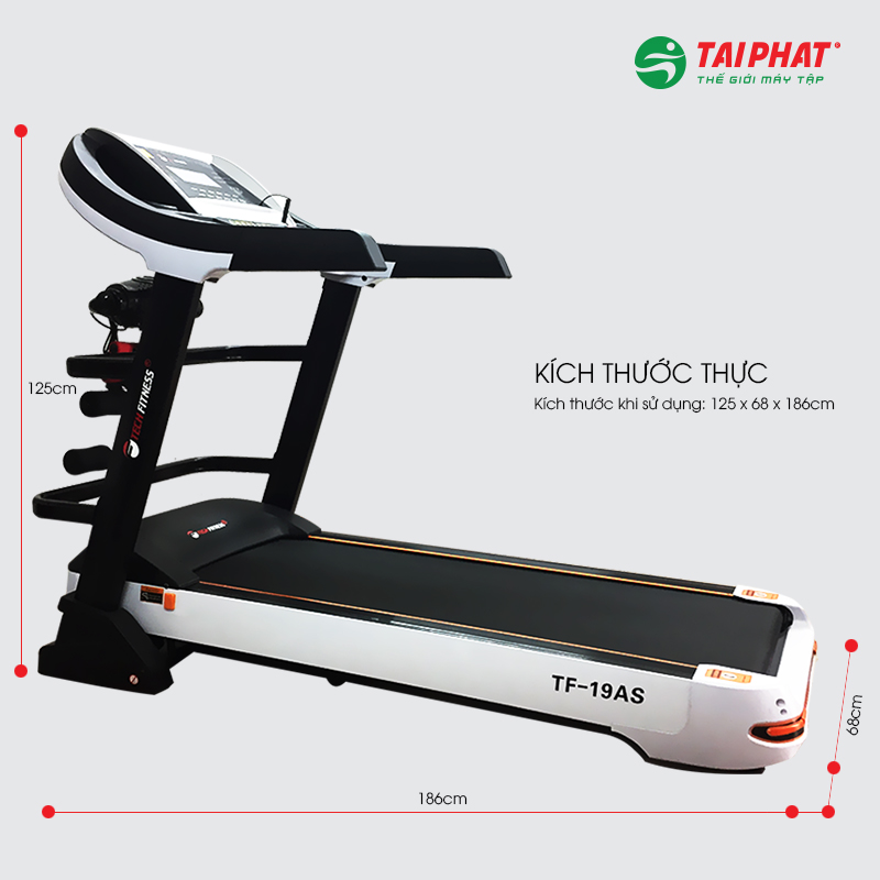 Máy chạy bộ Tech Fitness TF-19AS kích thước tầm trung phù hợp gia đình và phòng tập.
