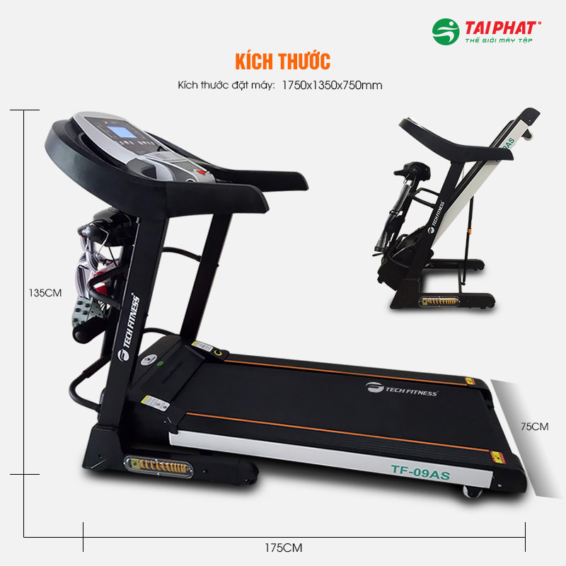 Kích thước thực của máy chạy bộ Tech Fitness TF-09AS