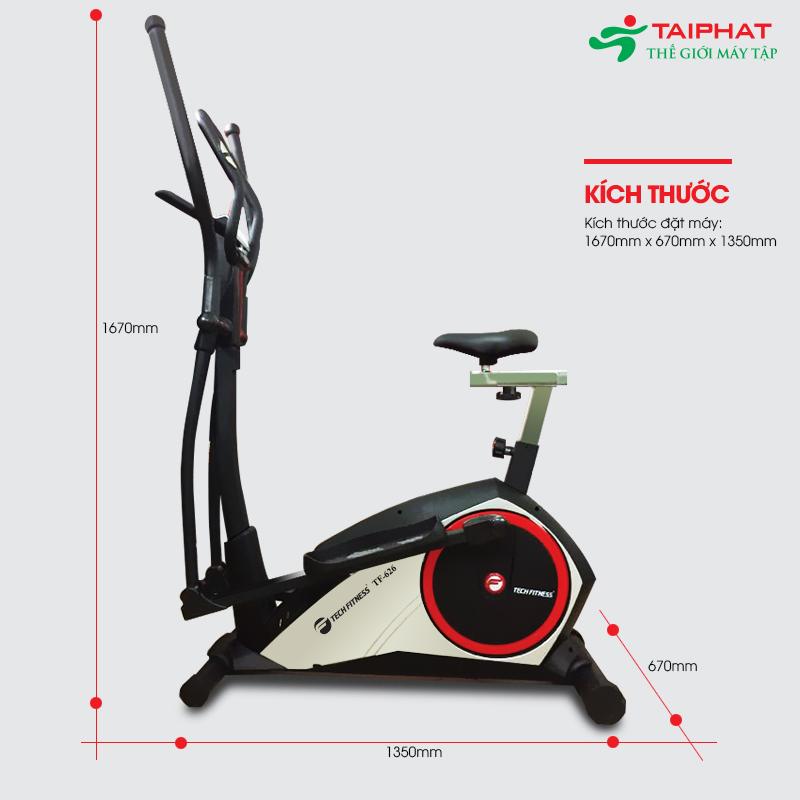 Kích thước xe đạp tập thể dục Tech Fitness TF-626