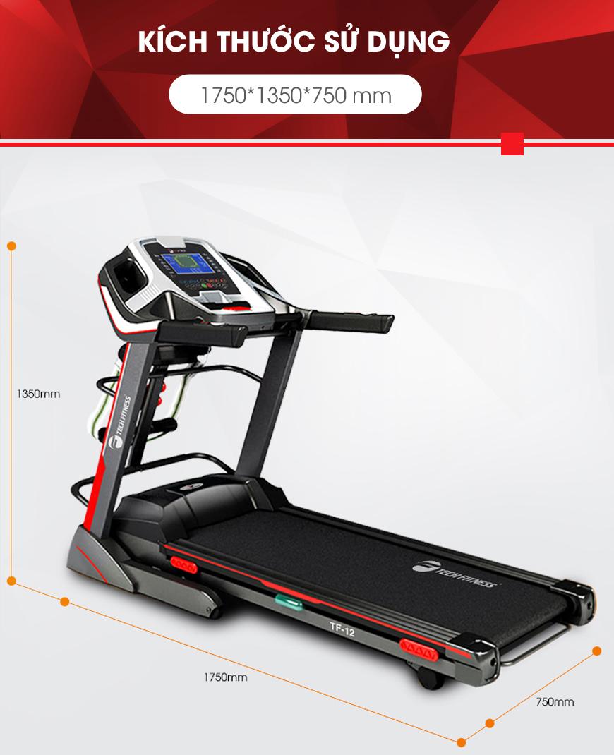 Máy chạy bộ Tech Fitness TF-12 với kích thước tầm trung.