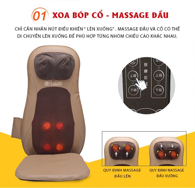 Chức năng xoa bóp đầu của đệm ghế massage RK-978