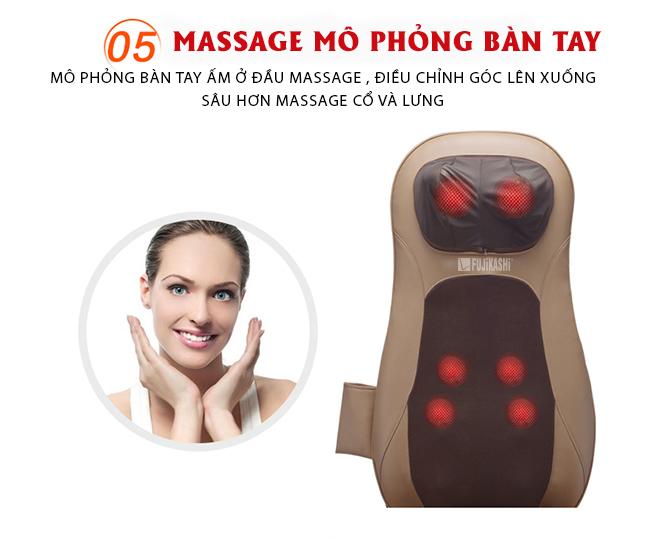 Massage chuyển động con lăn được mô phỏng kỹ thuật chuyển động như thao tác tay người dùng.