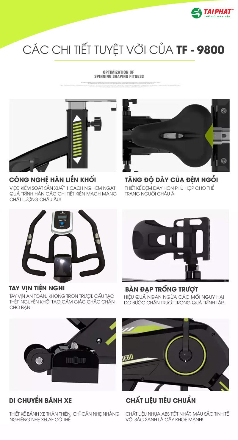 Từng chi tiết trên xe đạp tập thể dục Tech Fitness TF-9800 được thiết kế chuẩn xác.