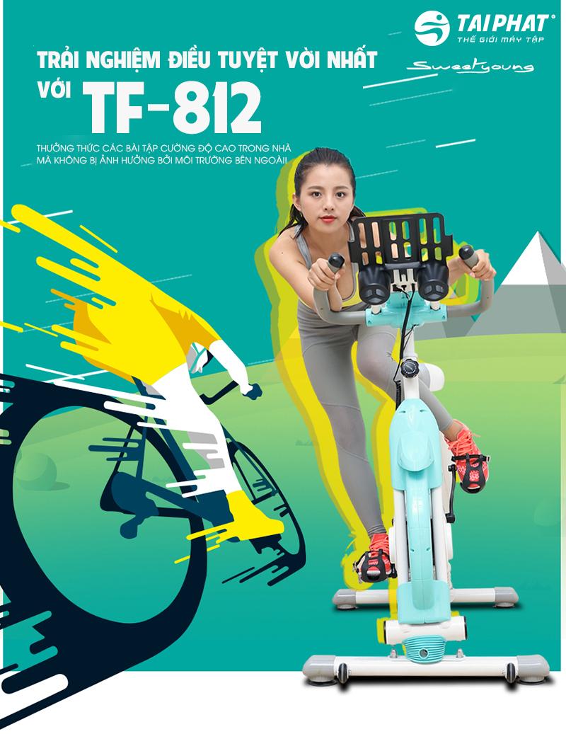 xe đạp tập thể dục TF-812 cho bạn được trải nghiệm nhiều bài tập cường độ cao