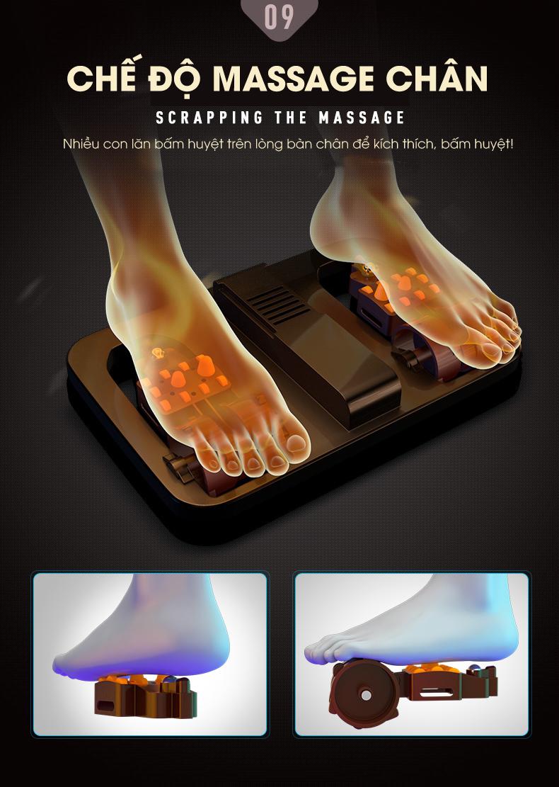 Lòng bàn chân được chăm sóc kỹ bởi hệ thống con lăn đa chiều.