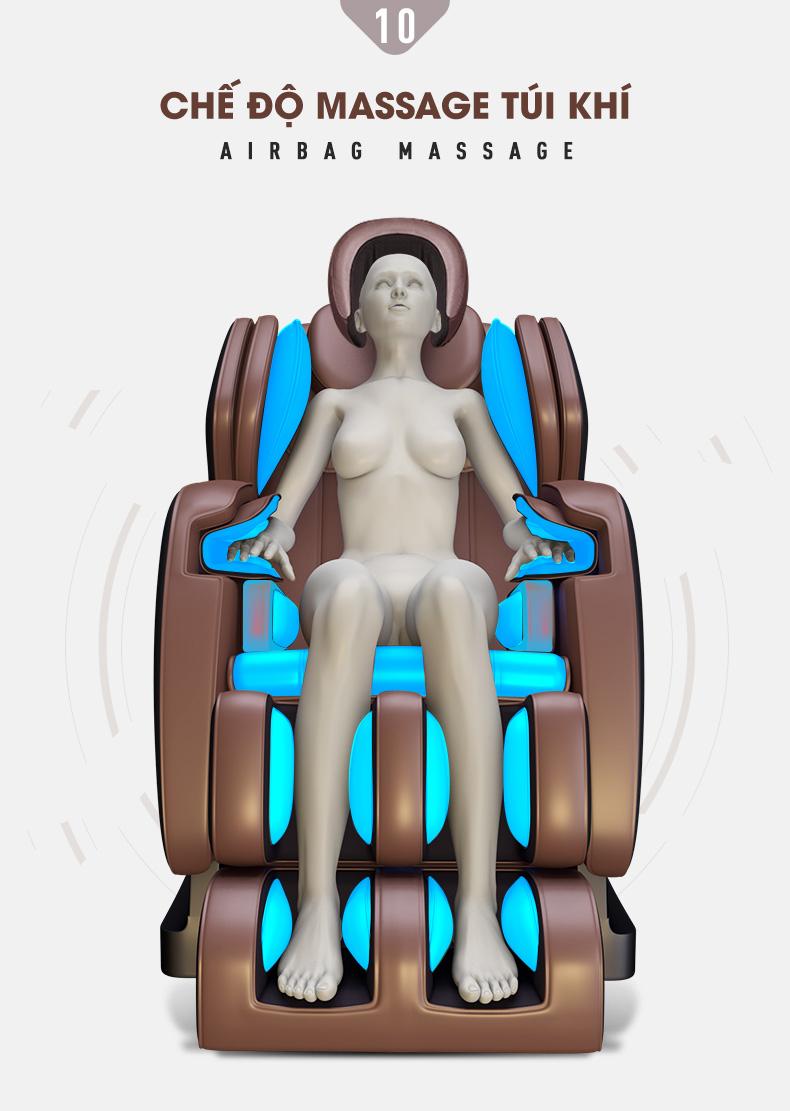 Túi khí trải dọc toàn thân massage giúp co bóp, nén