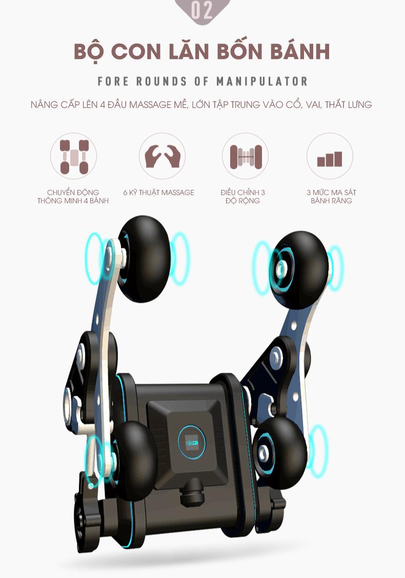 Con lăn massage với thiết kế 4 rãnh mở rộng vùng massage
