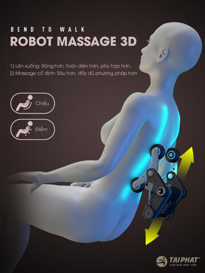 Robot massage 3D giúp massage sâu rộng hơn.
