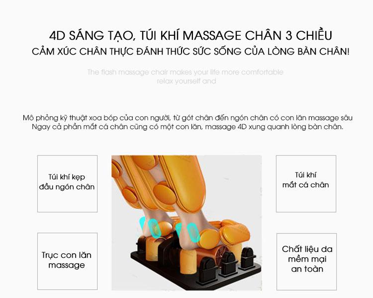 Không chỉ thân trên mà toàn bộ bàn chân cũng được massage xoa bóp cẩn thận giúp đôi chân chắc khỏe hơn.