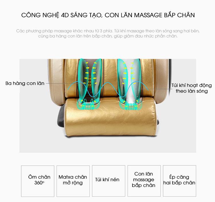 Từ bắp chân đến bàn chân đều được tích hợp công nghệ massge 4D hiện đại nhất.