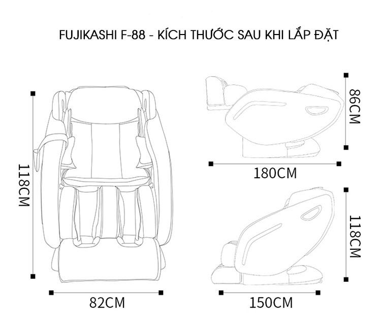 Kích thước chi tiết của ghế massage Fujikashi F-88