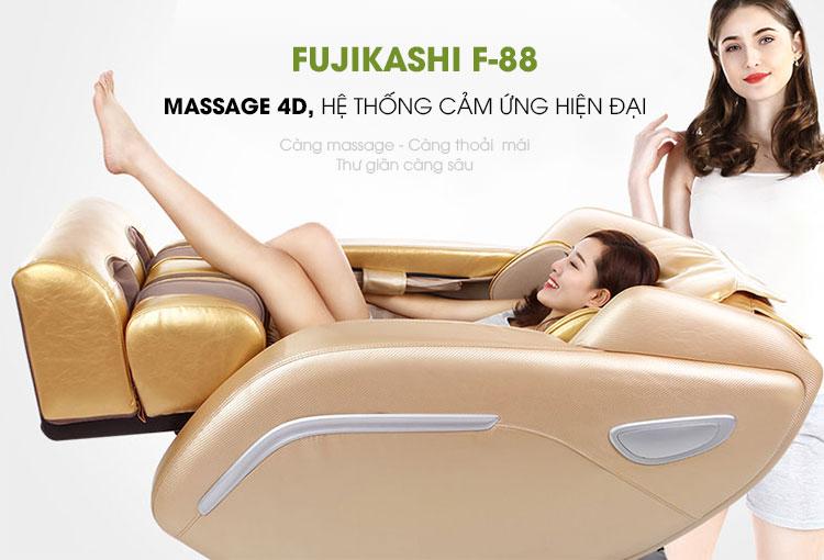 Ghế massage toàn thân Fujikashi F-88 mang đến hiệu quả chăm sóc sức khỏe toàn thân tốt nhất.