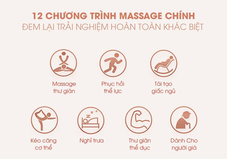 Các chương trình massage tự động giúp chăm sóc sức khoẻ toàn diện.