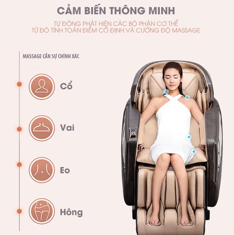 Hệ thống cảm biến dò tìm huyệt đạo tự động giúp xác định vị trí massage chính xác.