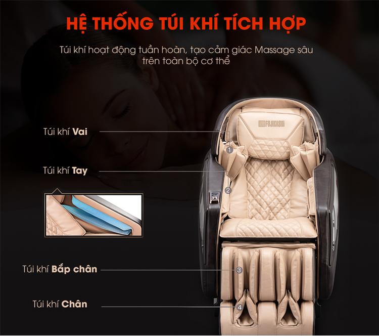 Túi khí được trải dọc toan thân mang đến massage xoa bóp giúp giảm đau nhanh.