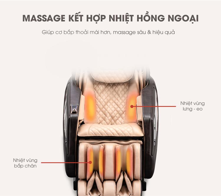 Sưởi ấm bằng nhiệt hồng ngoại làm tăng hiệu quả massage.