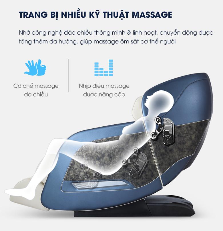 Là một chiếc ghế massage cao cấp cho nên kỹ thuật massage cũng phải nâng cấp và đa dạng hơn.