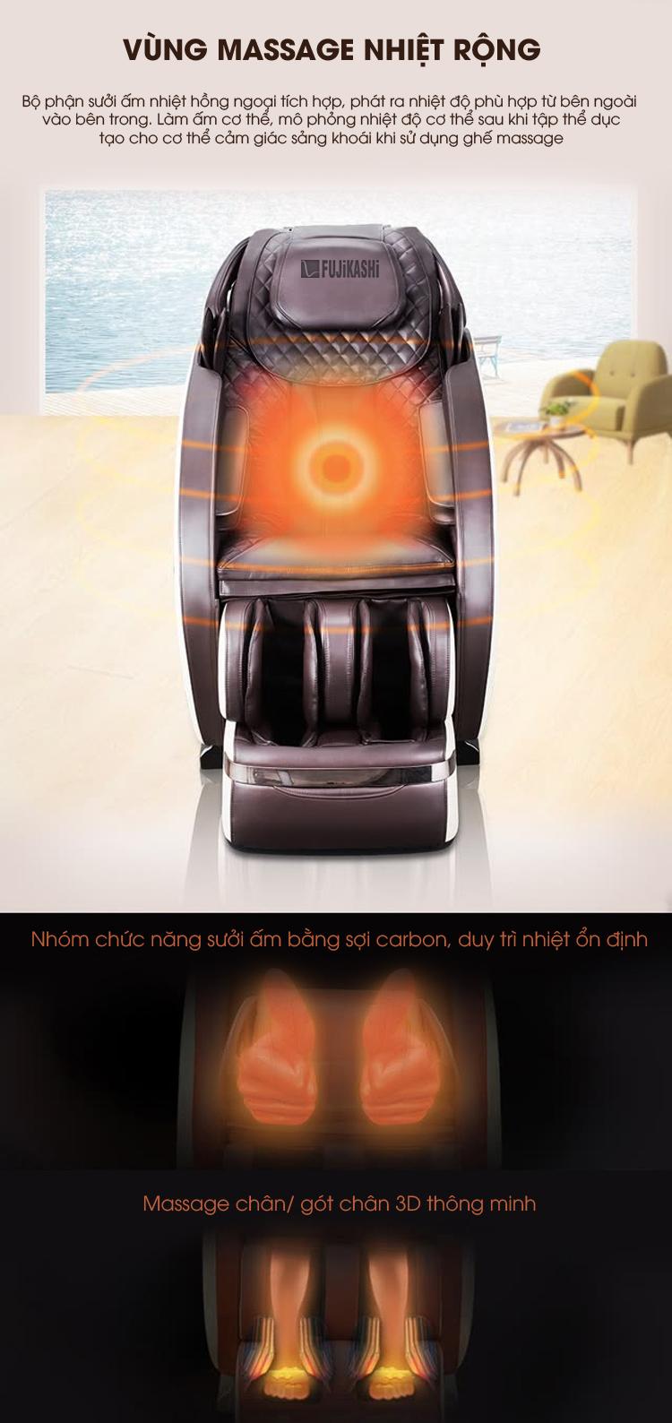 Massage nhiệt sưởi ấm ổn định nâng cao hiệu quả massage thẩm thấu sâu vào cơ thể.