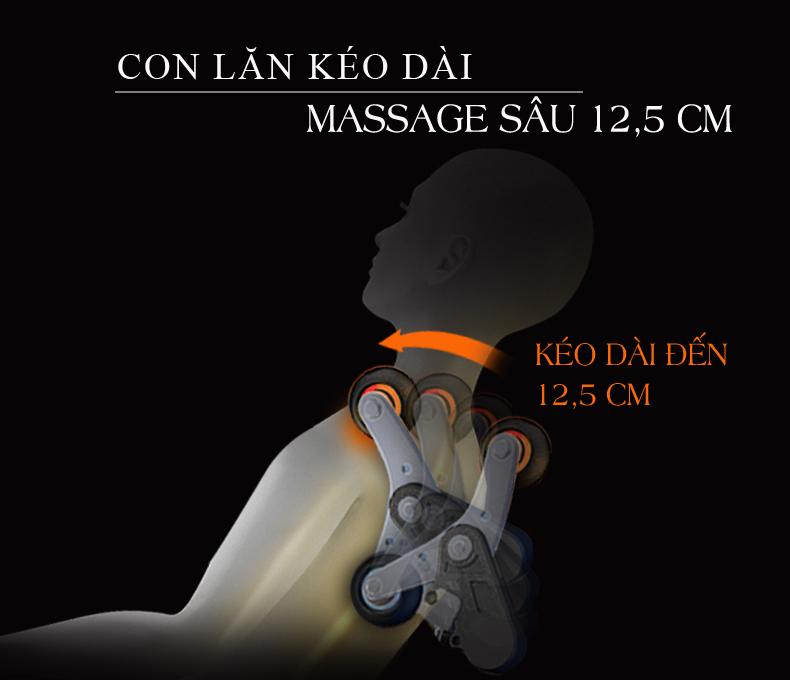 Vùng massage được mở rộng nhờ sự cải tiến về kích thước con lăn.