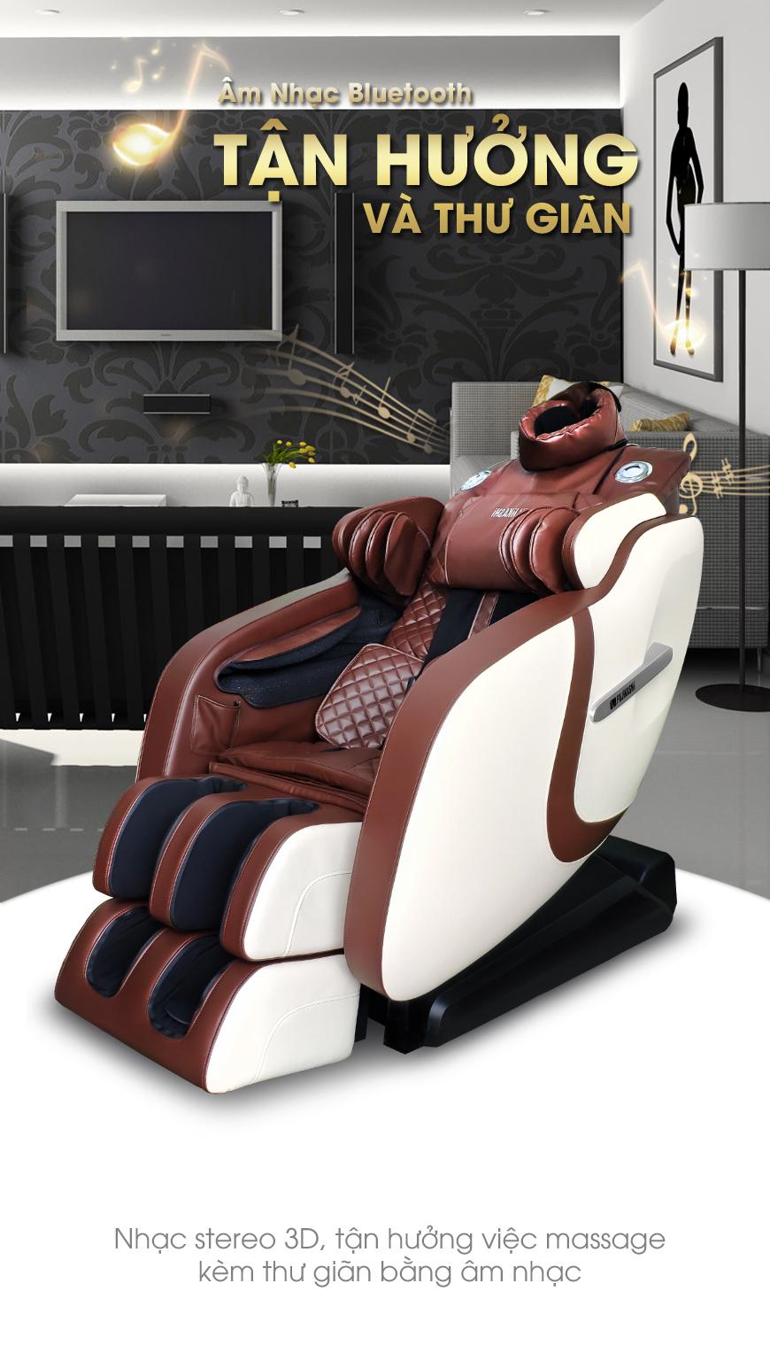 Ghế trang bị loa nghe nhạc cho bạn thoải mái tận hưởng massage nghe nhạc thư giãn toàn thân.