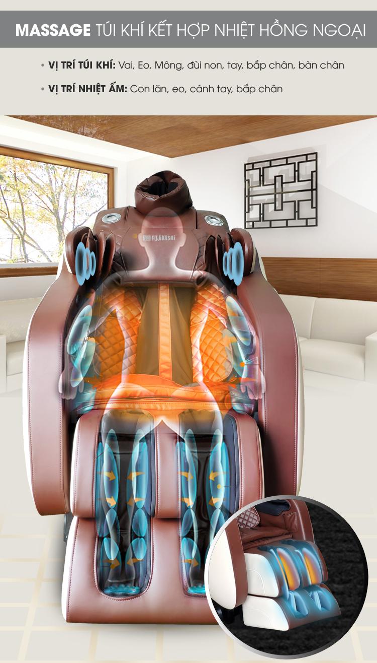Hệ thống túi khí sẽ trải dọc toàn thân, massage nhiệt sưởi ấm.