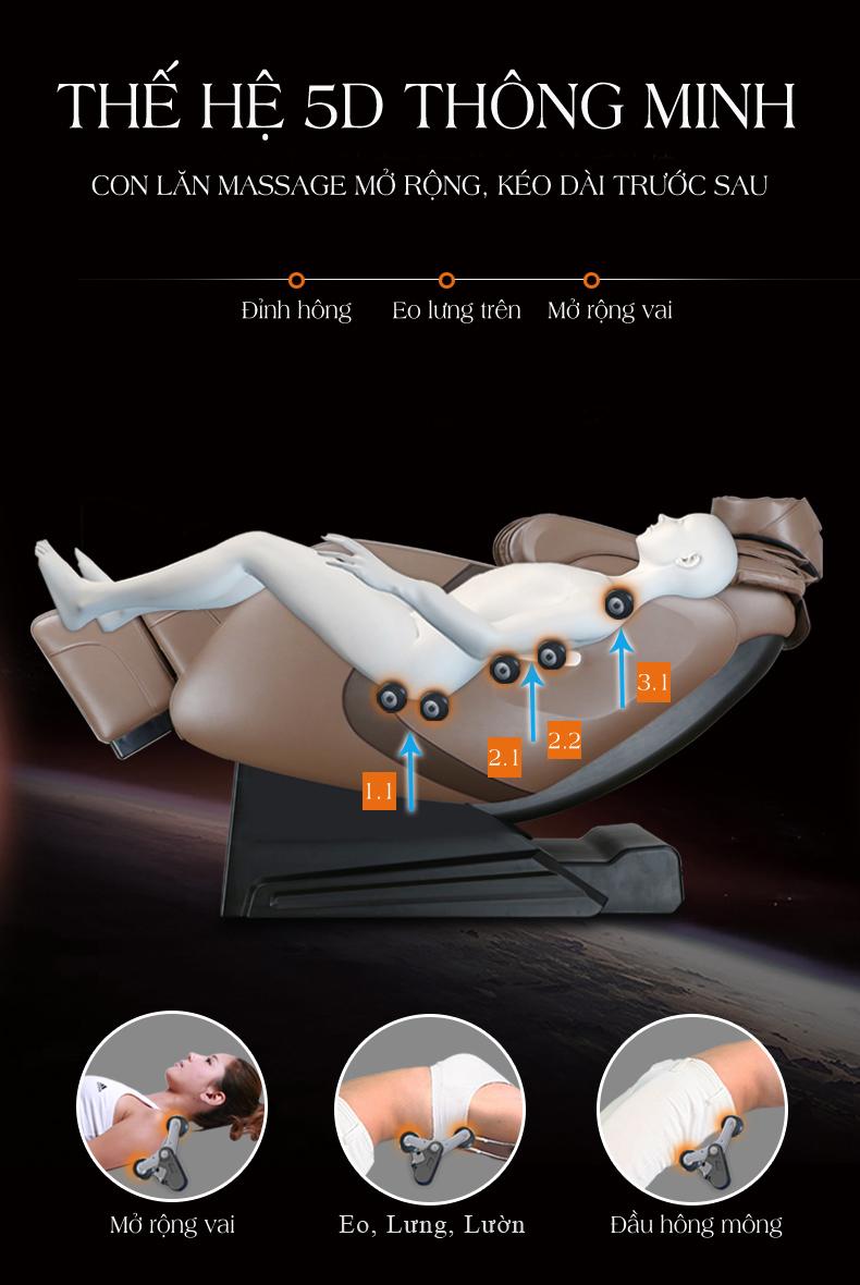 Ghế massage ôm trọn toàn thân giúp massage sâu và hiệu quả hơn.