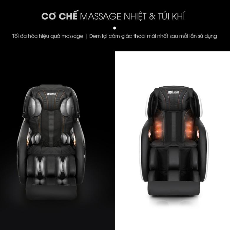 Cặp đệm ấm được tích hợp tại phần tựa lưng giúp làm nóng và tăng hiệu quả massage giảm đau nhức.