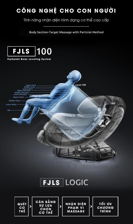 Ghế massage Fujikashi Fj-2500 có chế độ quét toàn thân tự động để xác định chiều cao và cân nặng để tuỳ chỉnh chương trình massage tốt nhất.