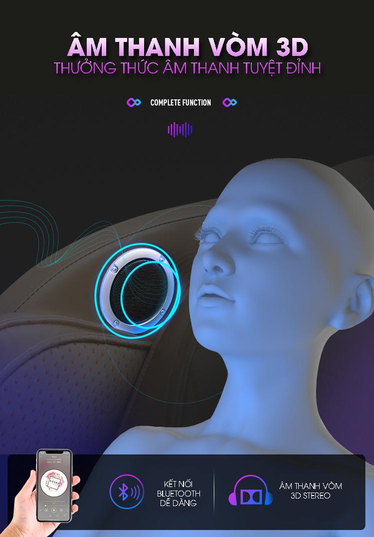 Ghế có kết nối Bluetooth mang đến phút giây thư giãn, massage hiệu quả hơn.