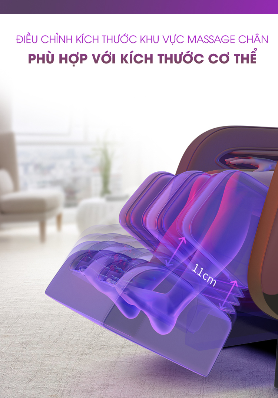 Kích thước phần chân ghế có thể kéo duỗi theo chiều cao cơ thể người dùng.
