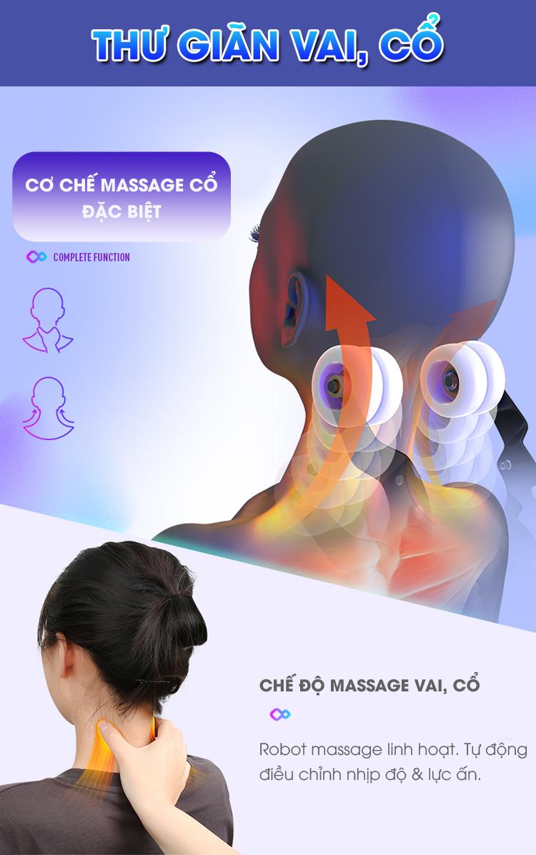 Con lăn massage có thể điều chỉnh massage sâu và uốn lượn theo độ cong của cổ và vai.