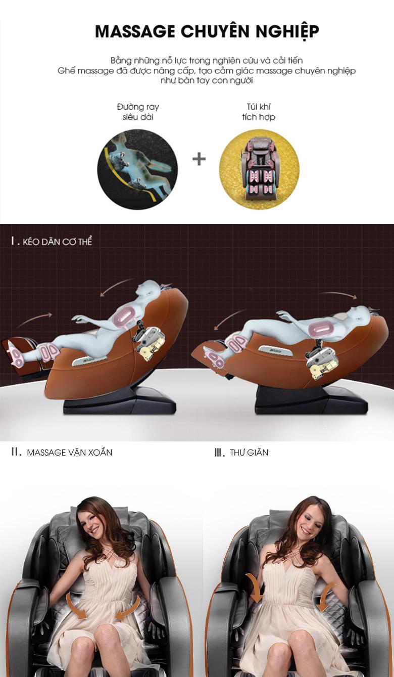Ghế có thể thực hiện chức năng kéo giãn, vặn người giảm đau thuần thục.
