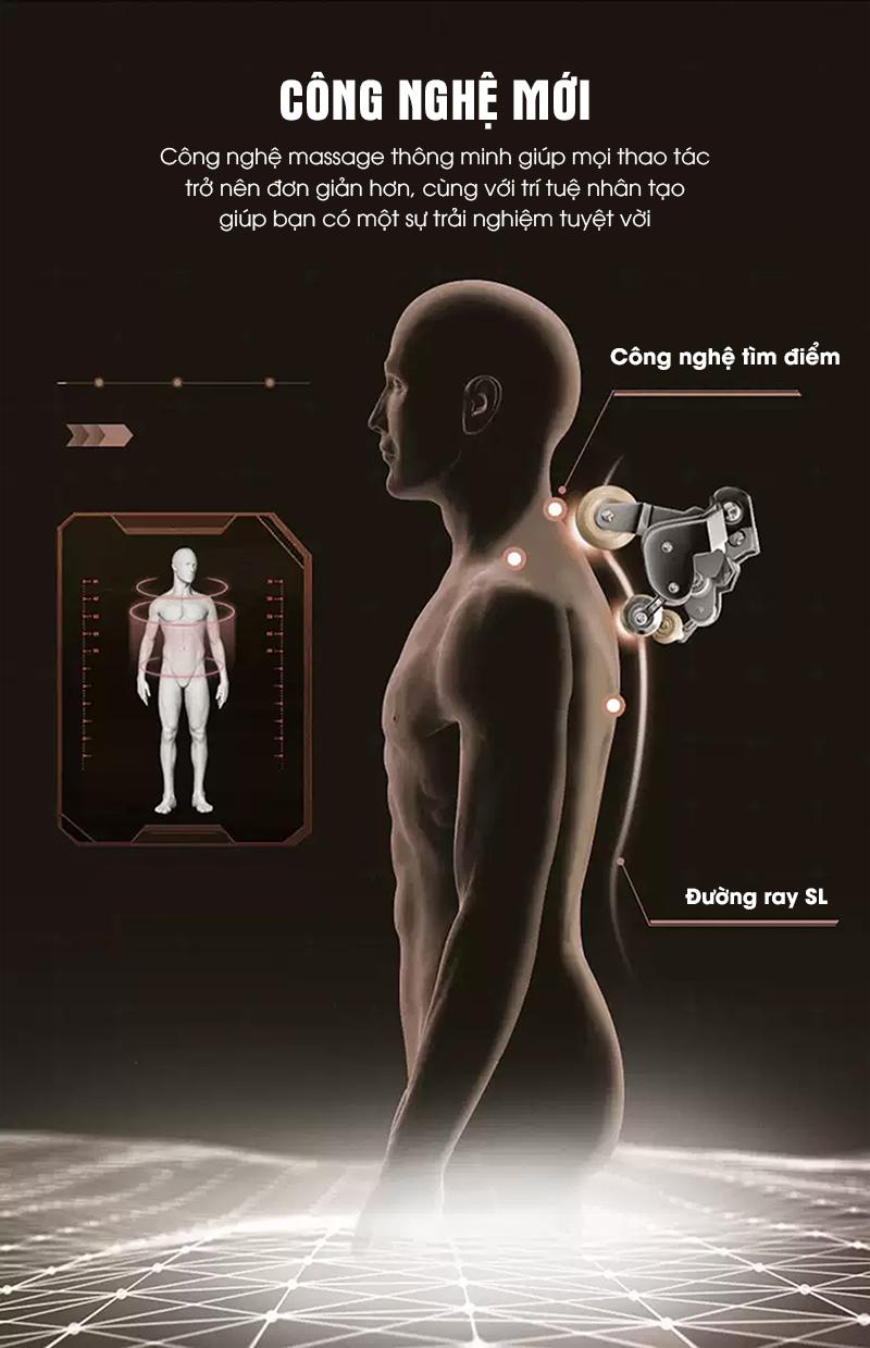 Công nghệ massage kiểu mới thông minh giúp mát chính xác.