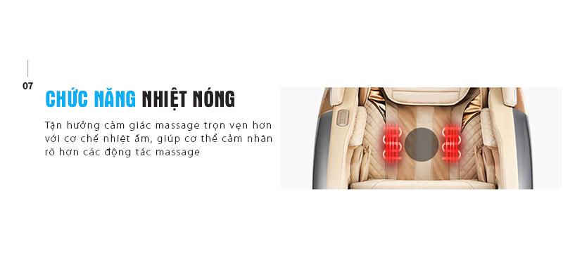 Chức năng massage nhiệt nóng vùng thắt lưng